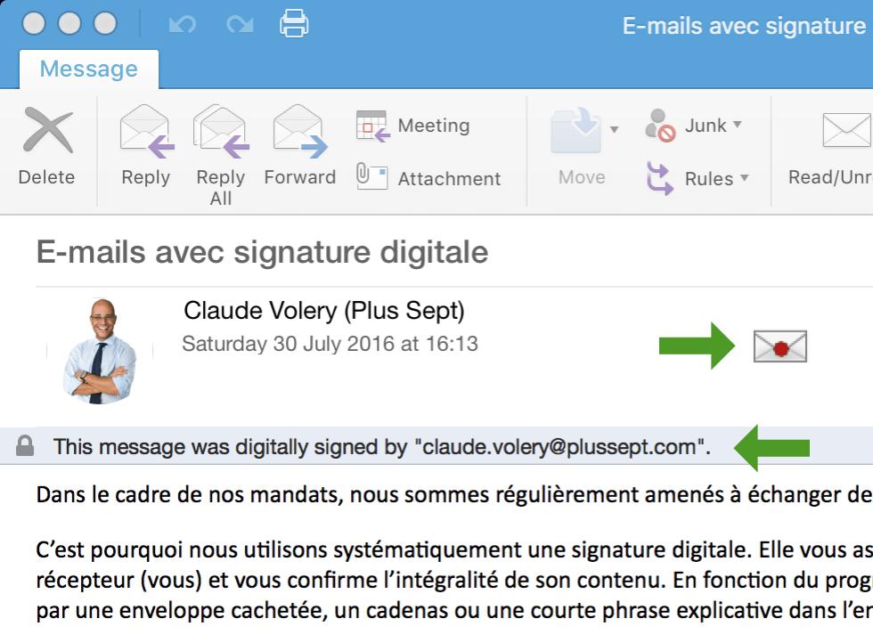 Les mails envoyés par Plus Sept sont sécurisé par une signature digitale.