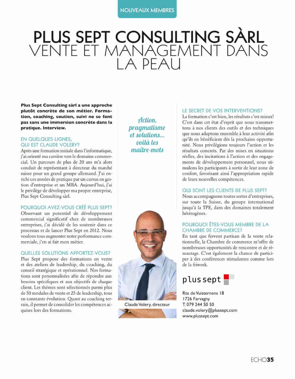 Interview de Claude Volery, directeur de Plus Sept, pour la CCIF